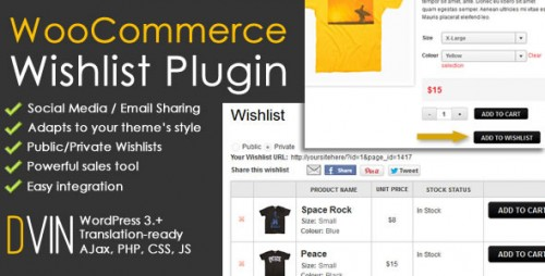 WordPress Plugins - WooCommerce Wishlist